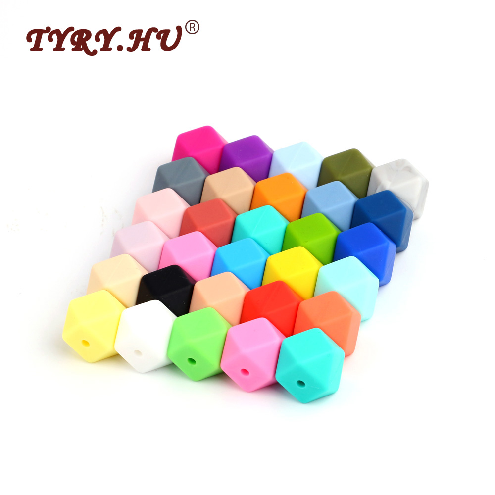 TYRY.HU Silicone Beads Jewelry-Crafts Teething-Toys Food-Grade Hexagon Pink Baby 14mm