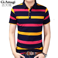 2017 New Brand Clothing Mens Polo Shirt For Men Classic Stripes Polos Cotton Short Sleeve Casual Shirt Hit color men tops XXXL