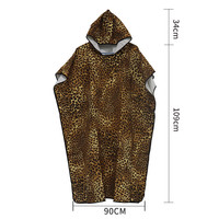Lightweight Microfiber Wetsuit Changing Robe Surf Poncho Towel with Hood Leopard Quick Dry Hooded Towels for Swim Beach Pool
