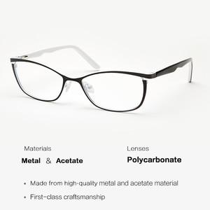 Image 2 - מתכת נשים עין חתול משקפיים מסגרות לנשים בציר משקפיים שקוף שחור ולבן משקפיים מסגרות # TWM7559C2