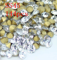 Free Shipping SS45 144pcs DIY Point Back Shaped Rhinestones Crystal Clear White Color Point Back Chaton