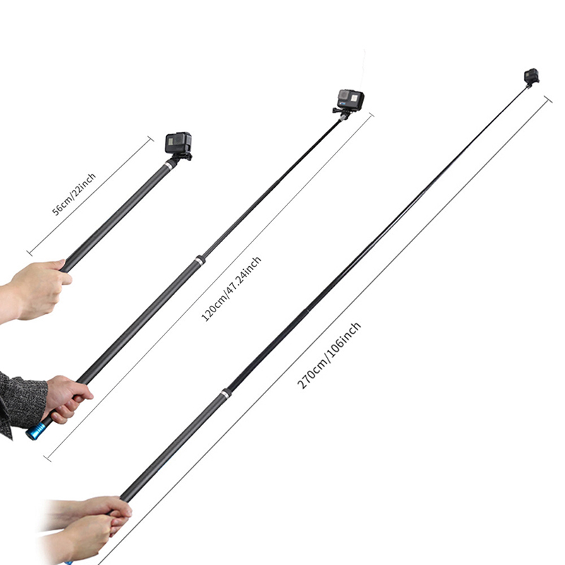 Long Carbon Fiber Handheld Selfie Stick Extendable Pole Monopod for GoPro Hero 7 6 5 4 3 Xiaomi YI SJCAM Eken SOOCOO unfolded 480mm pole extendable waterproof tripod selfie stick handheld monopod dive for gopro hero 4 3 3 2 sj4000 for xiao yi
