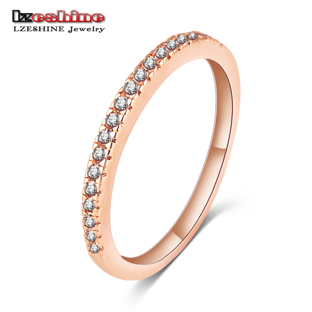 LZESHINE Sample Design New Rings Rose Gold Color AAA Zircon Rings