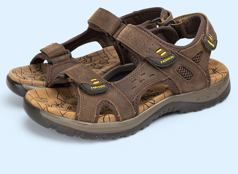 Hot Sale New Fashion Summer Leisure Beach Men Shoes High Quality Leather Sandals The Big Yards Men\`s Sandals Size 38-45 (12)