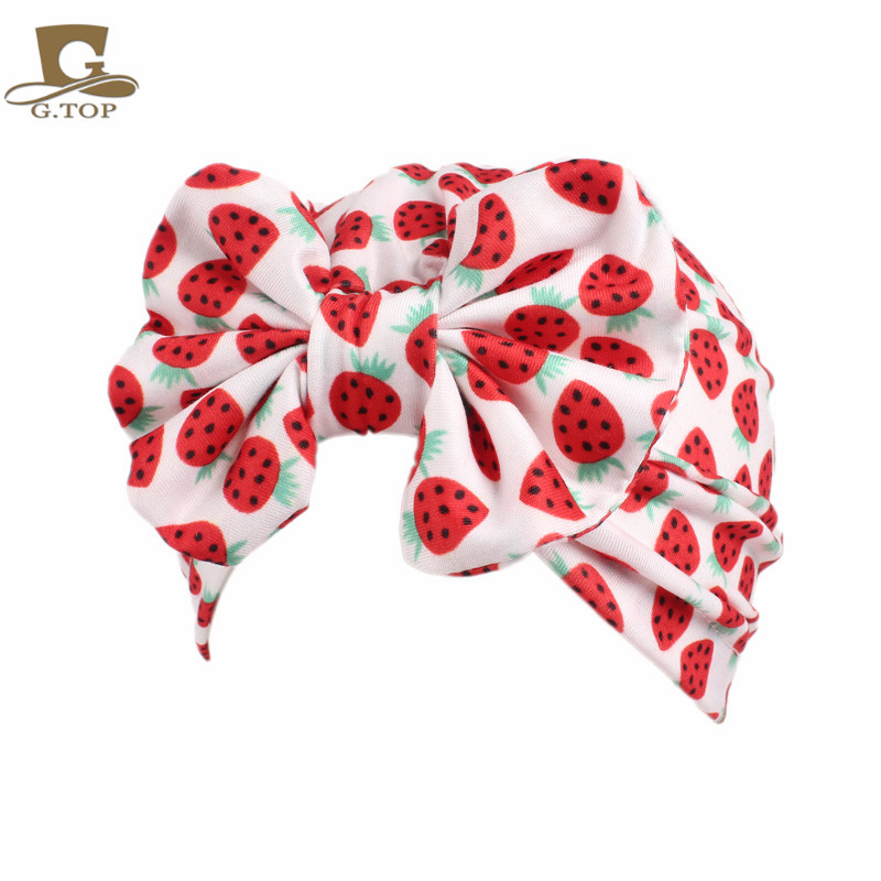 c2102d48e14 Children vintage big bow Headbands fruit pattern Kid Hat Girl Soft Cute  Turban kids beanie Knotted hair band-in Hair Accessories from Mother   Kids  on ...