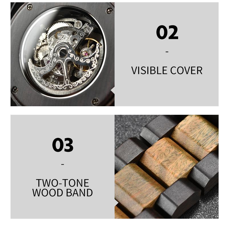Reloj mecánico de madera caja de diseño Retro 11