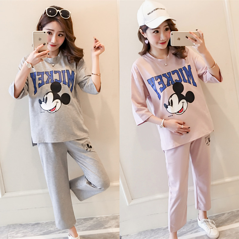 Minnie Mouse T-shirt Cosplay 2018 fashion Korean version of the summer new round neck loose Anime Minnie Mouse Maternity suit