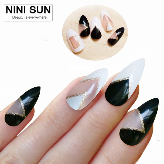 12 Designs 2017 New Adult Stiletto Nails French Acrylic False Nail Tips Art Fake