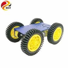 Умный робот RC автомобильный комплект с 2 мм алюминиевым шасси, 4 шт TT Мотор, 4 шт 80 мм резиновое колесо для проекта Arduino