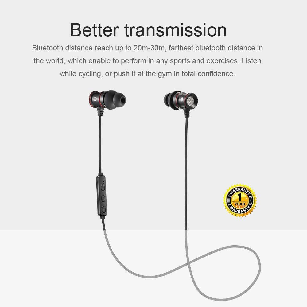Ipudis Magnet Logam Olahraga Bluetooth Earphone Nirkabel Earbud Stereo Headset dengan MIC