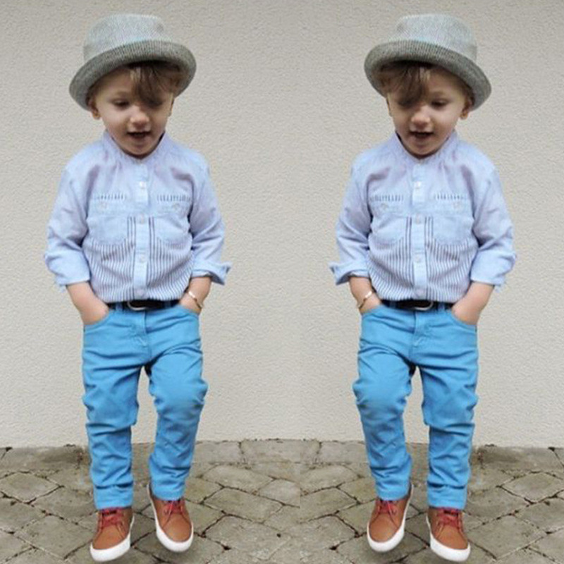 Brand New Arrival Kid Boy Gentleman Suit Baby 2 Piece Outfit Stripe Shirt Blue Pants Moda Infantil Menino Roupas Conjunto In Clothing Sets From