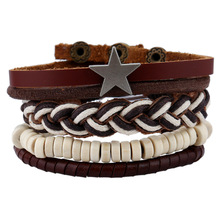 4 PCS/Set Vintage star Rope Leather Braided Bracelet Set for Man Woman Casual Wristband Hand Jewelry Gift Drop shipping