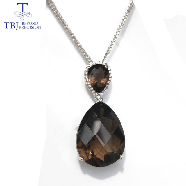Tbjbig natural checkerboard cutting 16ct up smoky quartz pendant tbjbig natural checkerboard cutting 16ct up smoky quartz pendant gemstone necklace with 18 inches aloadofball Choice Image