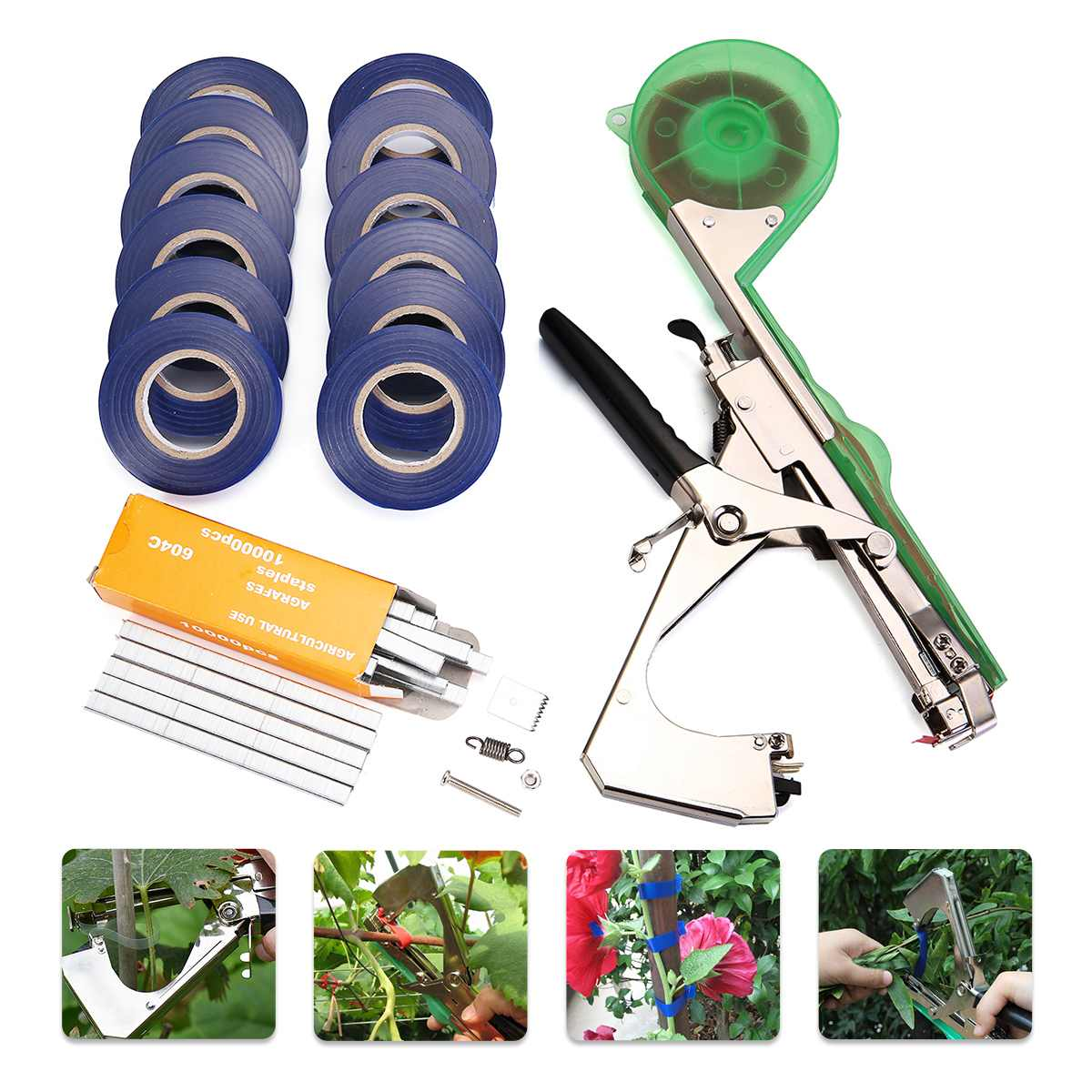 1pc Plant Tying Tool Tapener Machine Branch Hand Tying Machine Tapetool Tapener Cutter Garden Tool