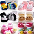 Free shipping Baby warm Socks with animal Outdoor Shoes Baby Foot Anti-slip Walking Sock kid's Socks for the newborns 0-6month