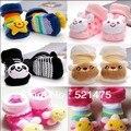 O envio gratuito de Meias quentes Do Bebê com animais Shoes Bebê Ao Ar Livre Pé Anti-slip Andando Meia Meias infantis para os recém-nascidos 0-6month