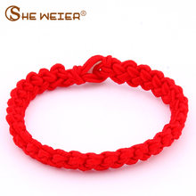 SHE WEIRE Lucky Bracelet For Women Children Bracelet 2018 Red String Adjustable female men hand chain couple friendship yellow(China)
