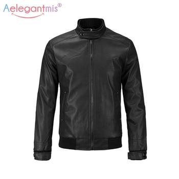 Aelegantmis Classic Brand PU Leather Jacket Men Casual Biker Motorcyle Jacket Black Brown Autumn Winter Mens Outerwear Plus Size