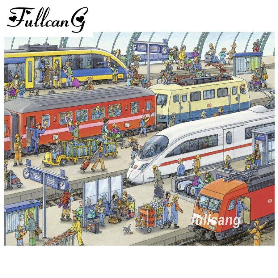 FULLCANG railway station mosaic needlework diamond painting cross stitch diy 5d diamond embroidery full square diamonds F1052