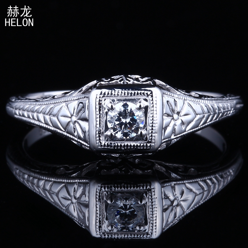 Sterling Silver 925 Vintage Antique Ring Flawless 3mm Round 100% Genuine AAA Graded Cubic Zirconia Engagement Art Nouveau Ring