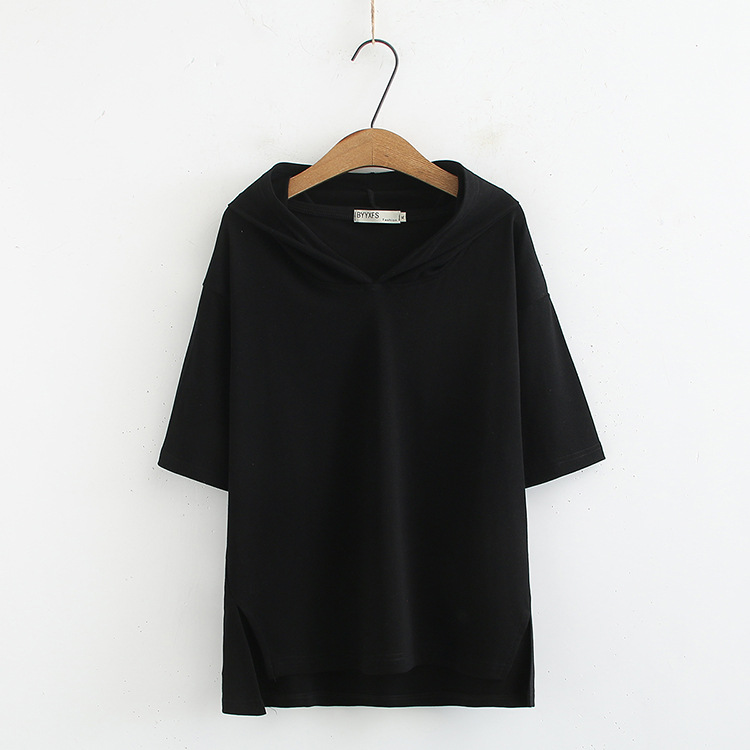Hooded Casual T shirts Plus Size XXXL 4XL Loose Short Sleeve Summer Tops Green Black White KKFY3535 in T Shirts from Women 39 s Clothing