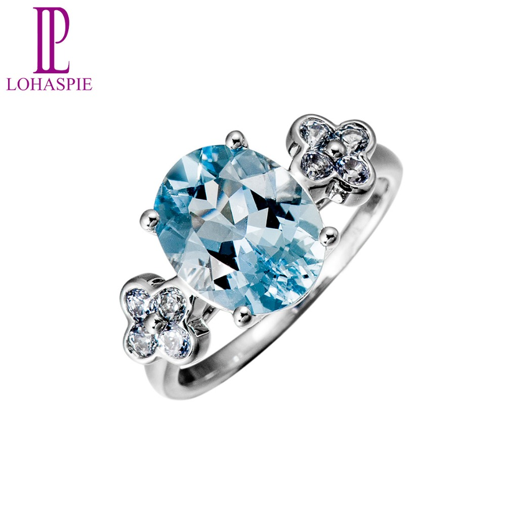 Lohaspie Natural Gemstone Aquamarine & Sapphire Solid 18k White Gold Vintage Wedding Rings For Women Fine Jewelry