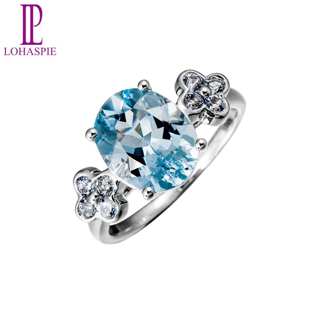 0fe0ec0e28f3 Lohaspie Natural de piedras preciosas aguamarina zafiro sólido 18 k oro  blanco Vintage anillos de boda para las mujeres