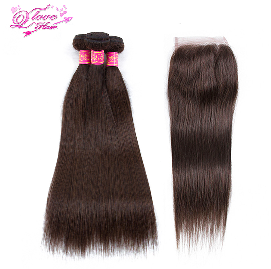 Queen Love Hair Pre colored Indian Hair 2 Color Bundles With Lace Closure Straight Human Hair