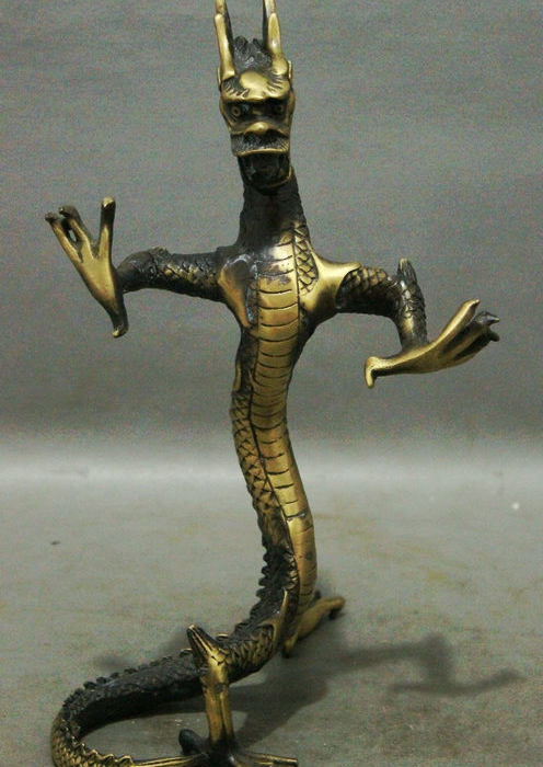 "10"" Classic China Collect Palace Exorcise Bronze Year Zodiac Dragon Art Statue"