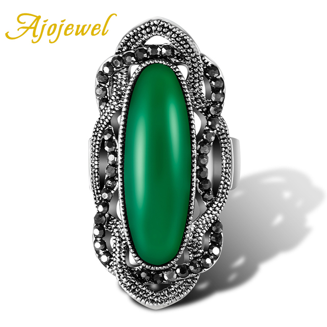 Ajojewel #7-9 Vintage Big White/Green/Red/Black Stone Ring Designs Women Fashion