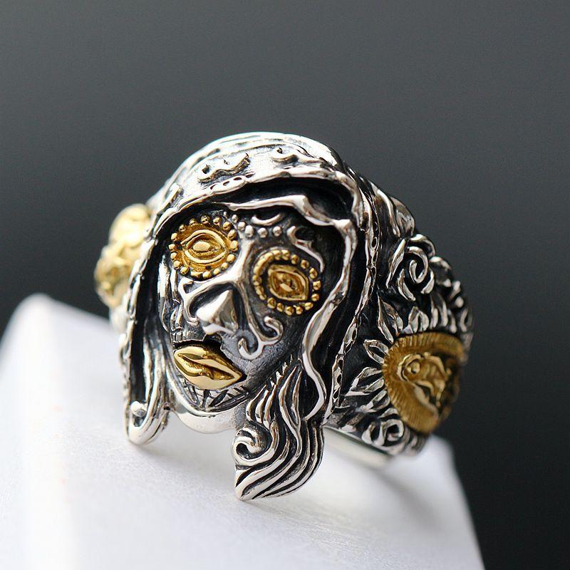 Fortune pavilion silver Halloween genie witch Thai silver ring vintage 925 sterling silver ring steam genie 2012
