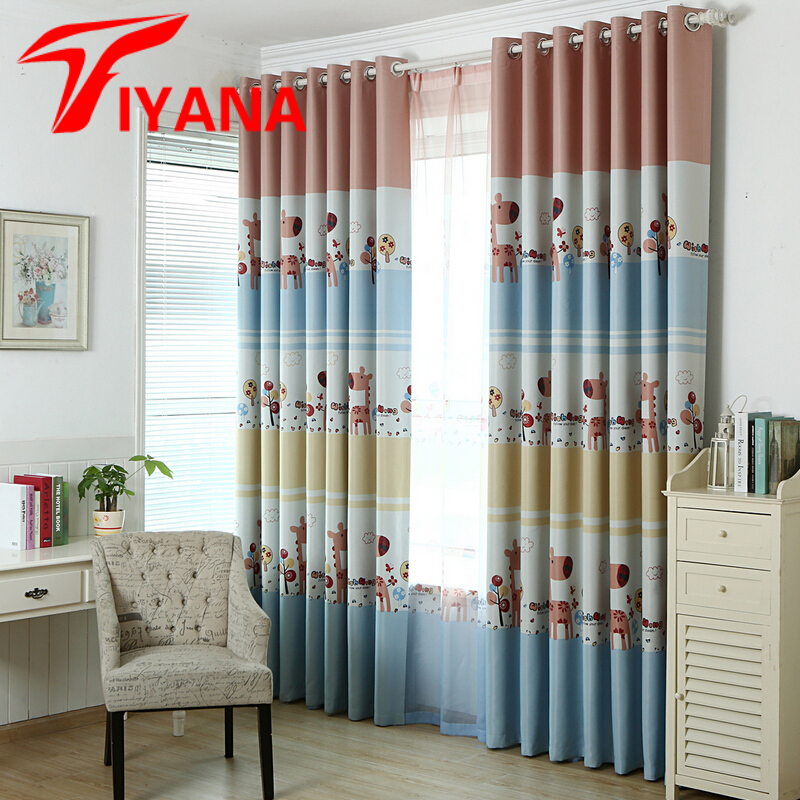 modern child cartoon printed kids curtain for baby room blackout curtains for bedroom window drapes eco - Blackout Shades Baby Room