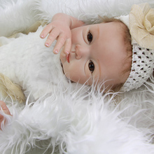 Brown Eyes Realistic Baby Girl 22 Inch 55 cm Newborn Babies Doll Toy Real Touch Alive Silicone Dolls Kids Birthday Xmas Gift