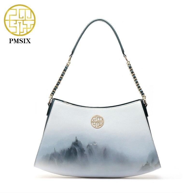Pmsix Famous Brand Bags Fashion Printing handBags For Women Long Strap Shoulder Bags portable single casual