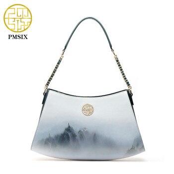 Pmsix Fashion Ink style Printing Women HandBags Long Strap Cow Leather Ladies Shoulder Bags Elegant Casual Female Totes bag - discount item  43% OFF Women's Handbags