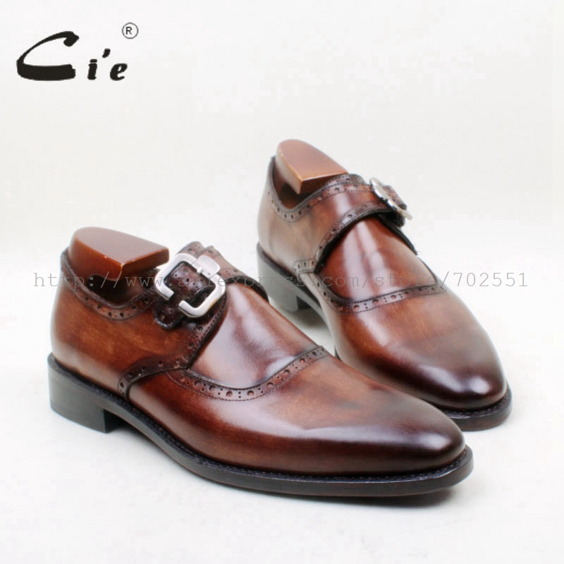 cie Round Toe 100% Genuine Calf Leather Single Monk Straps Goodyear Welted Men's Shoe Hand Painted Brown Leather Outsole Ms148