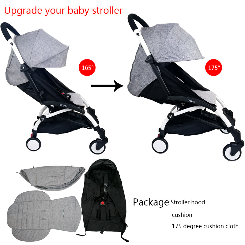 3Pcs/set Stroller Cover And Cushion Oxfords Back Zipper Pocket Baby Stroller Accessories For Babyzen Yoyo Yoya Babytime Stroller