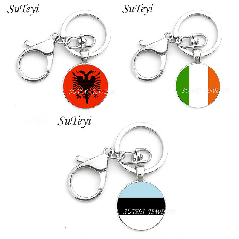 SUTEYI Albania Ireland Estonia National Flag Keychain Jewelry Glass Cabochon Pendant Key Chain With Lobster Buckle