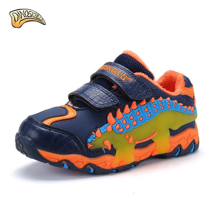 Children 's shoes autumn and winter paragraph plus velvet warm boy sports shoes child dinosaur flashing lights running shoes