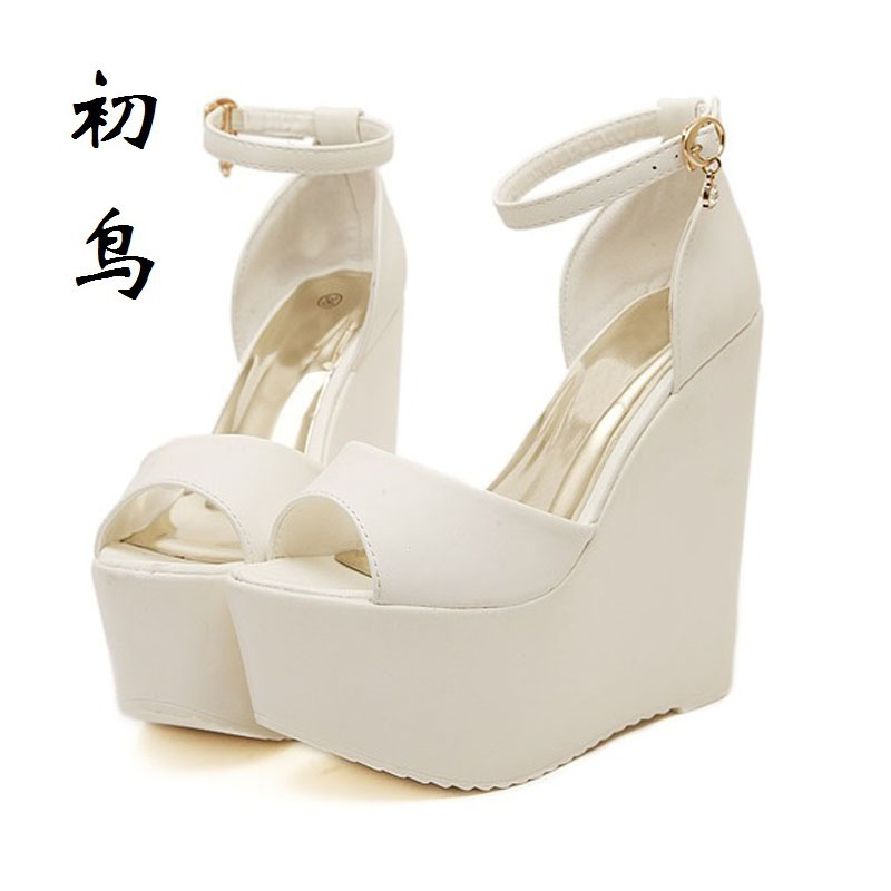 2017 Fashion White Peep Toe Sexy Women Wedges Sandals Extreme High Heels Ladies Pumps Platform Shoes Woman Summer style Black 2016 genuine leather women sandals fashion peep toe shoes woman popular mixed color wedges high heels glitter platform shoes