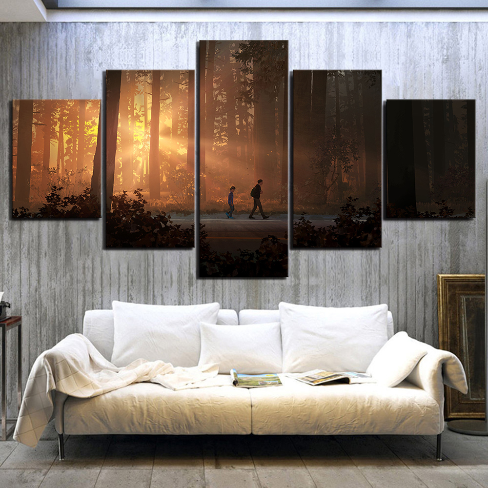 5 Piece Life Is Strange 2 Game Poster Paintings HD Forest Paintings Landscape Wall Art for Living Room Decor 1