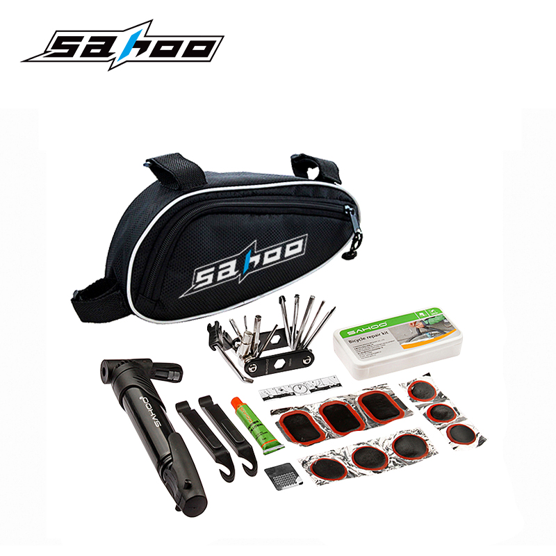 SAHOO MIX in 1 Cycling Bicycle Tools Bike Repair Kit Set with Pouch Pump Black Bicycle Accessories Mountain Screwdriver Tool sahoo 21040 portable multifunctional bike tire repair tool kit black