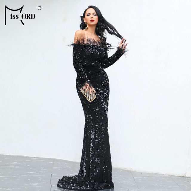 Missord 2019 Sexy Off Shoulder Feather LongSleeve Sequin floor length Evening party Maxi Reflective  Dress Vestdios FT19005 1