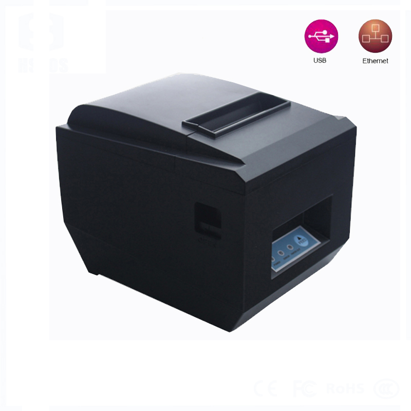 USB+LAN thermal receipt printer pos80 with auto cutter Low cost and High-quality thermal printing Low-power waste HS-825ULC usb interface 58mm pos receipt printer thermal printing with power supply built in free shipping