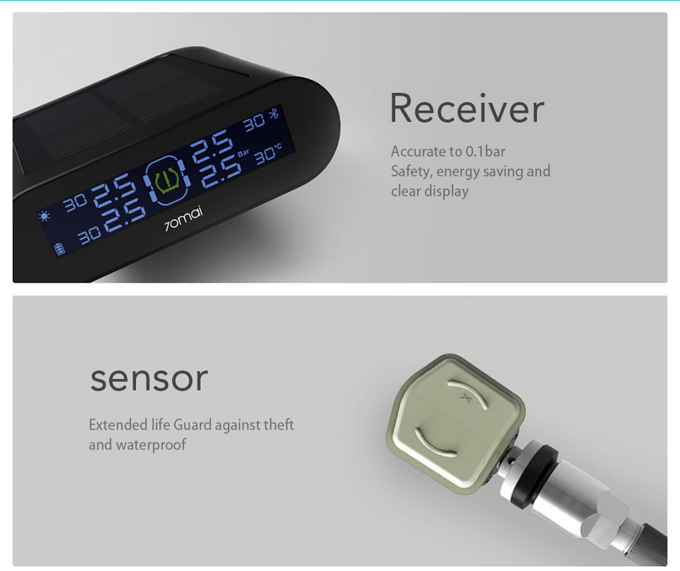 Tire Pressure Monitoring System uses Built-in/External Solar Power