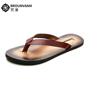 US 6-10 New Summer Men REAL Leather Casual  Flip-Flops Man T-Strap Tongs Leisure Sandals Slipper Shoes Beach Slides