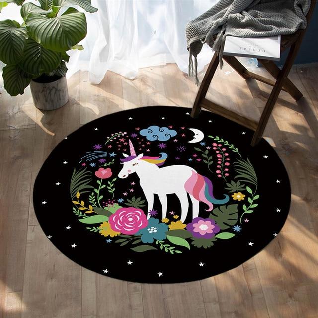 Rainbow Floral Unicorn Bedroom LivingRoom Round Carpets
