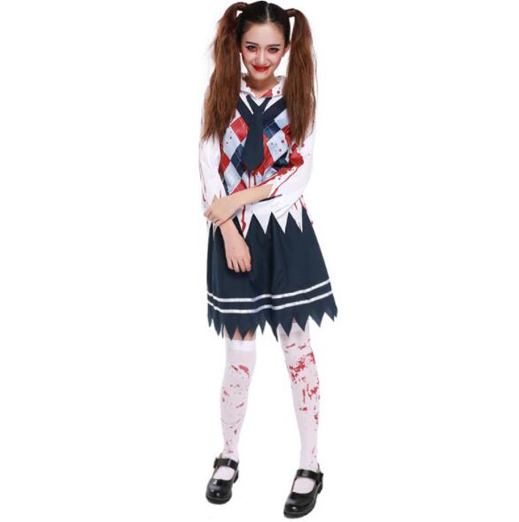 sexy  bloody Ghost Bride Costume Halloween Adult Women Scary Ghost Bride Cosplay Uniform Fantasia Fancy Dress short dresses A156