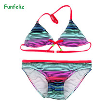 Funfeliz Girls Bikini Striped swimsuit for girls 5-14 Years Children two pieces swimwear Baby Girl Bathing Suits