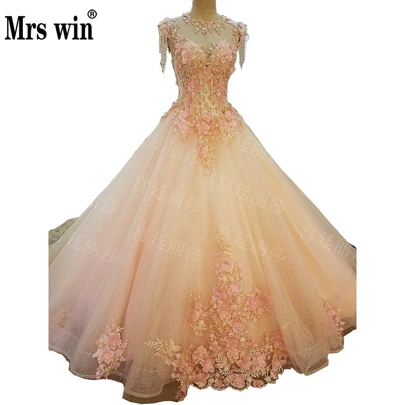 2019 Mrs Win Princess Colorful Wedding Dress Elegant O-neck Ball Gown Luxury Appliques 3 Colors Vestido De Noiva Wedding Gown F